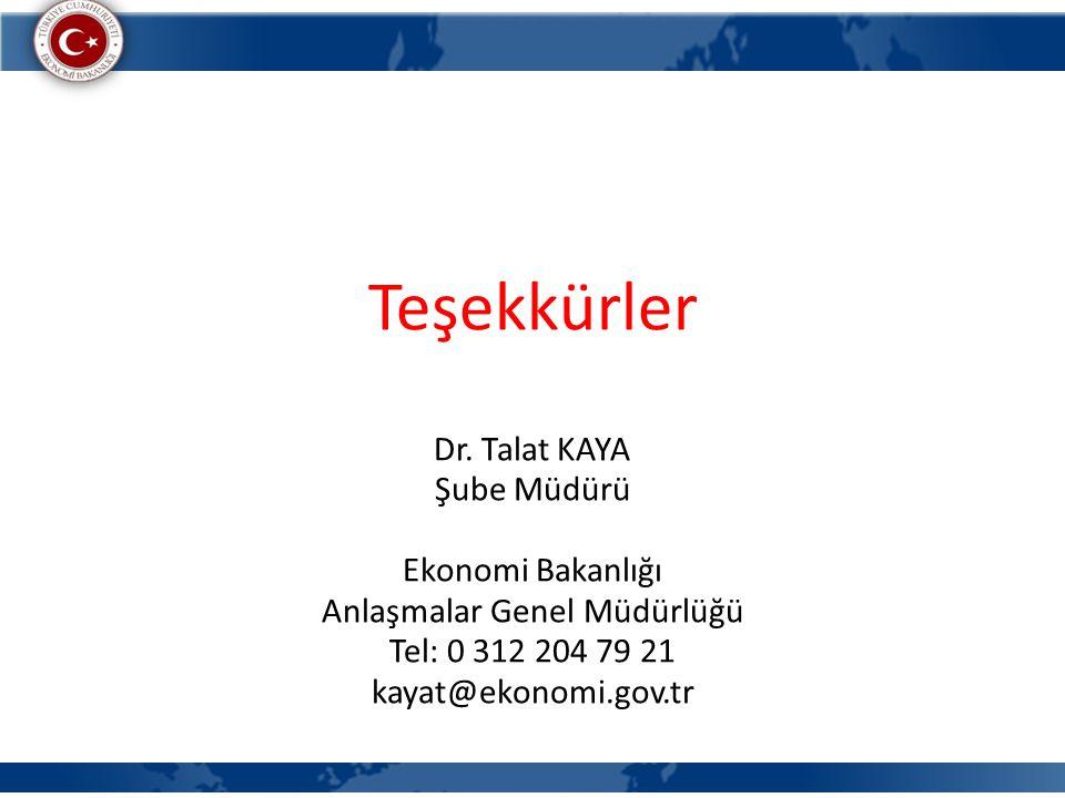 Teşekkürler Dr. Talat KAYA Şube Müdürü Ekonomi Bakanlığı Anlaşmalar Genel Müdürlüğü Tel: 0 312 204 79 21 kayat@ekonomi.gov.tr