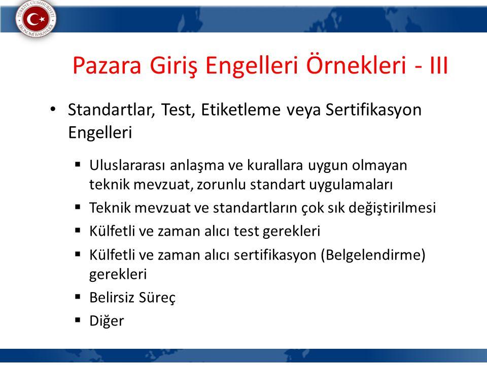 Pazara Giriş Engelleri Örnekleri - III Standartlar, Test, Etiketleme veya Sertifikasyon Engelleri  Uluslararası anlaşma ve kurallara uygun olmayan te