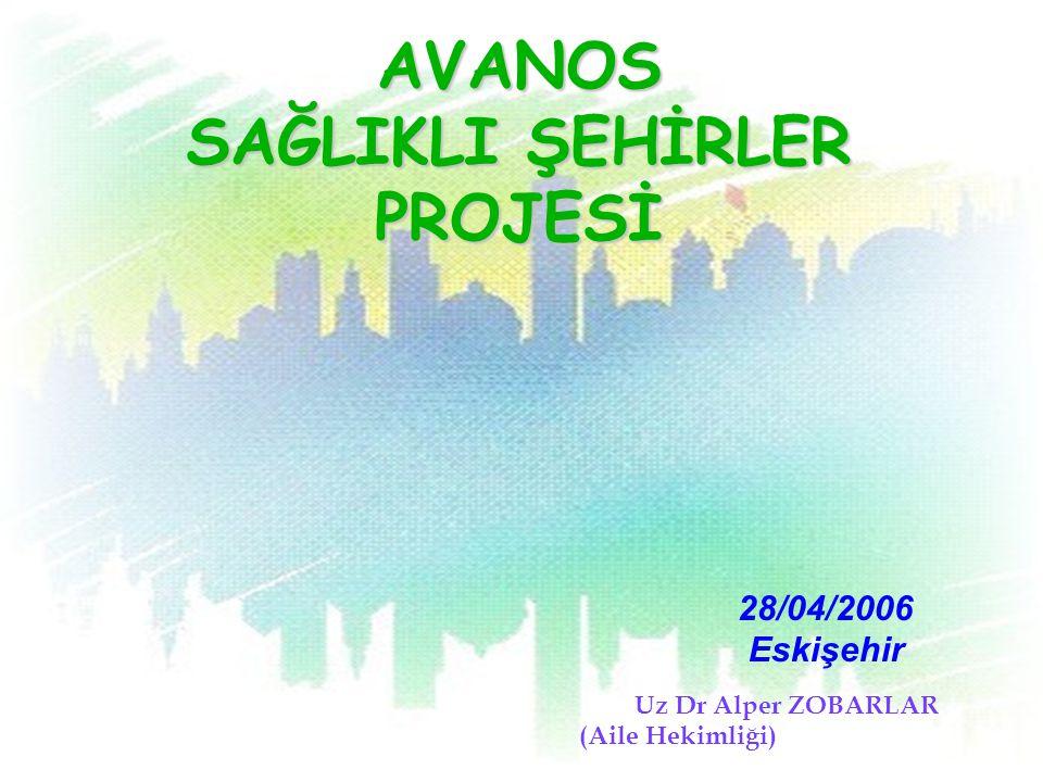 AVANOS SAĞLIKLI ŞEHİRLER PROJESİ U z Dr Alper ZOBARLAR (Aile Hekimliği) 28/04/2006 Eskişehir