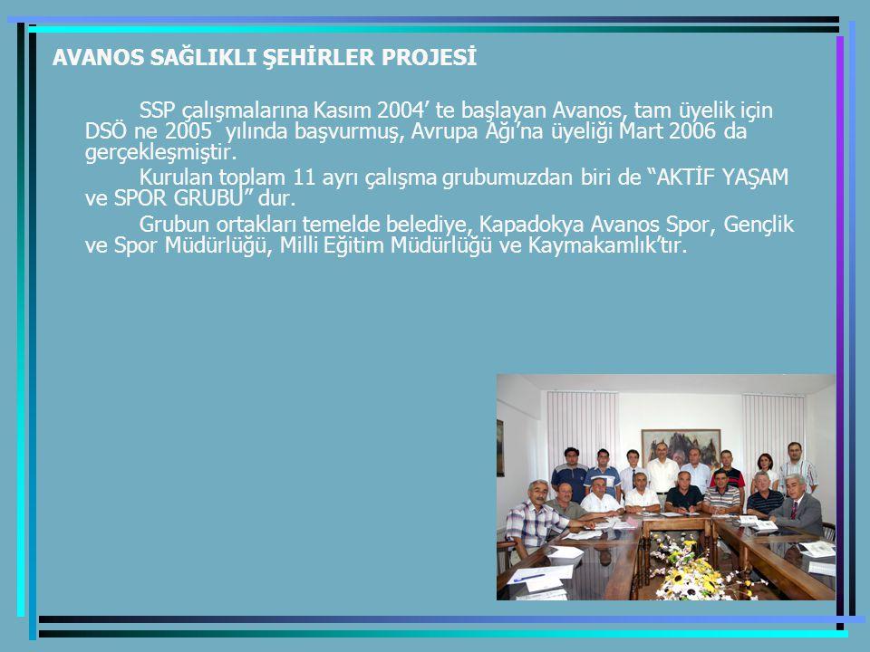 AVANOS SAĞLIKLI ŞEHİRLER PROJESİ SSP çalışmalarına Kasım 2004' te başlayan Avanos, tam üyelik için DSÖ ne 2005 yılında başvurmuş, Avrupa Ağı'na üyeliği Mart 2006 da gerçekleşmiştir.