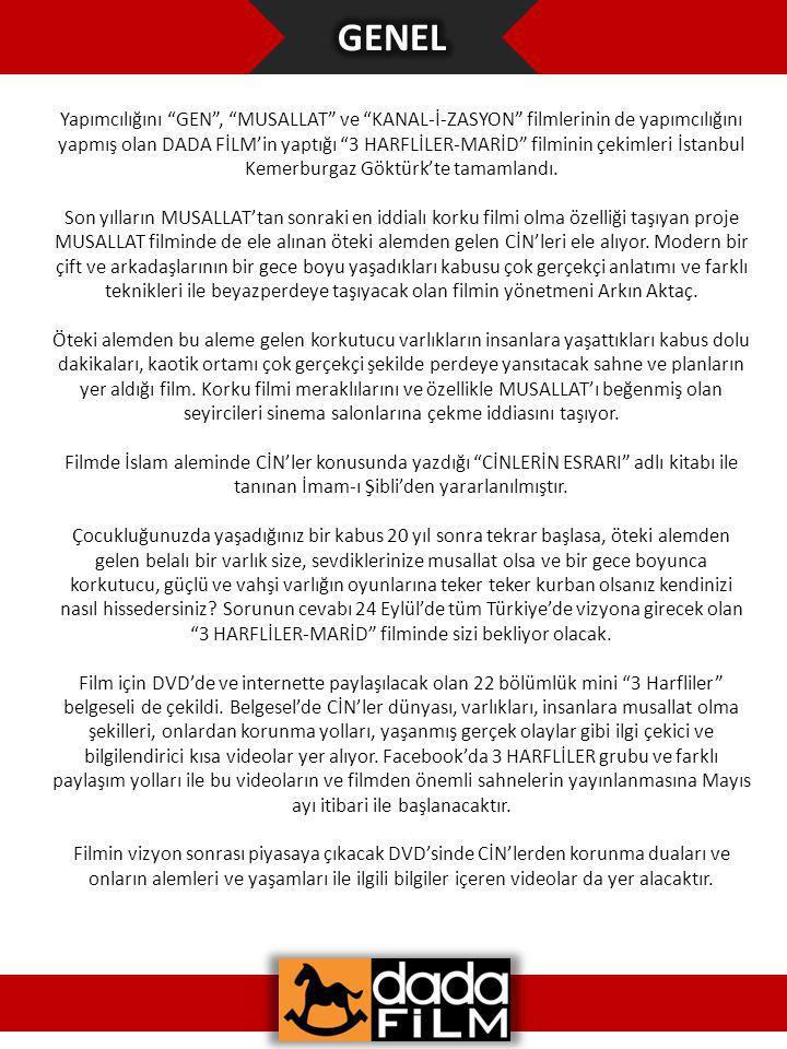 Yapımcılığını GEN , MUSALLAT ve KANAL-İ-ZASYON filmlerinin de yapımcılığını yapmış olan DADA FİLM'in yaptığı 3 HARFLİLER-MARİD filminin çekimleri İstanbul Kemerburgaz Göktürk'te tamamlandı.