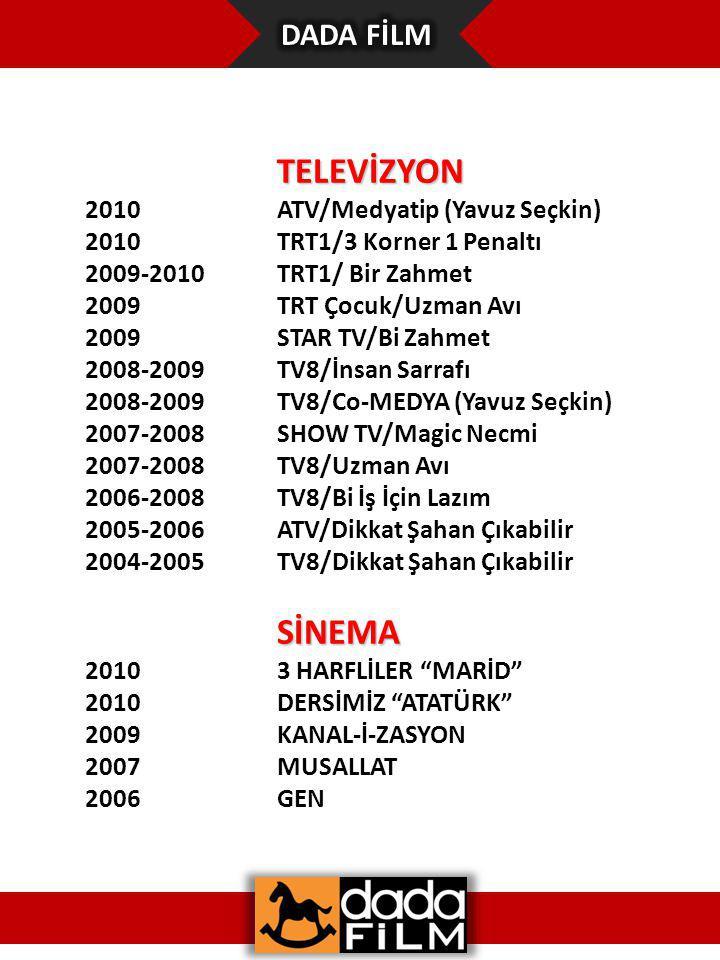 TELEVİZYON 2010ATV/Medyatip (Yavuz Seçkin) 2010TRT1/3 Korner 1 Penaltı 2009-2010TRT1/ Bir Zahmet 2009TRT Çocuk/Uzman Avı 2009STAR TV/Bi Zahmet 2008-2009TV8/İnsan Sarrafı 2008-2009TV8/Co-MEDYA (Yavuz Seçkin) 2007-2008SHOW TV/Magic Necmi 2007-2008TV8/Uzman Avı 2006-2008TV8/Bi İş İçin Lazım 2005-2006ATV/Dikkat Şahan Çıkabilir 2004-2005TV8/Dikkat Şahan Çıkabilir SİNEMA 20103 HARFLİLER MARİD 2010DERSİMİZ ATATÜRK 2009KANAL-İ-ZASYON 2007MUSALLAT 2006GEN