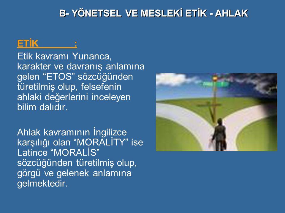 """ETİK: Etik kavramı Yunanca, karakter ve davranış anlamına gelen """"ETOS"""" sözcüğünden türetilmiş olup, felsefenin ahlaki değerlerini inceleyen bilim dalı"""