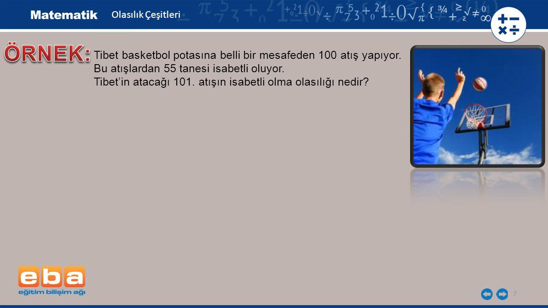 7 Tibet basketbol potasına belli bir mesafeden 100 atış yapıyor. Bu atışlardan 55 tanesi isabetli oluyor. Tibet'in atacağı 101. atışın isabetli olma o