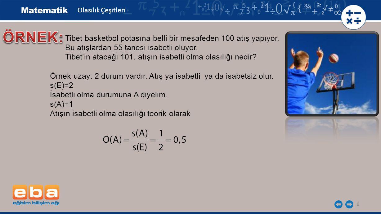 8 Tibet basketbol potasına belli bir mesafeden 100 atış yapıyor. Bu atışlardan 55 tanesi isabetli oluyor. Tibet'in atacağı 101. atışın isabetli olma o