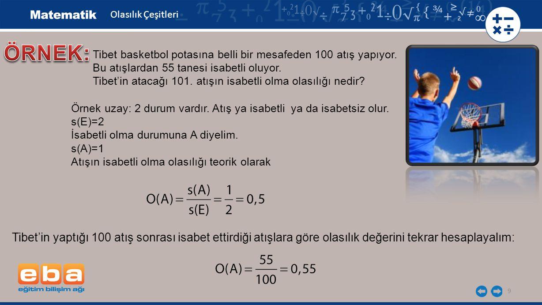 9 Tibet basketbol potasına belli bir mesafeden 100 atış yapıyor. Bu atışlardan 55 tanesi isabetli oluyor. Tibet'in atacağı 101. atışın isabetli olma o