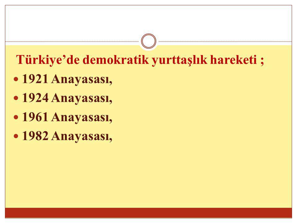 Türkiye'de demokratik yurttaşlık hareketi ; 1921 Anayasası, 1924 Anayasası, 1961 Anayasası, 1982 Anayasası,