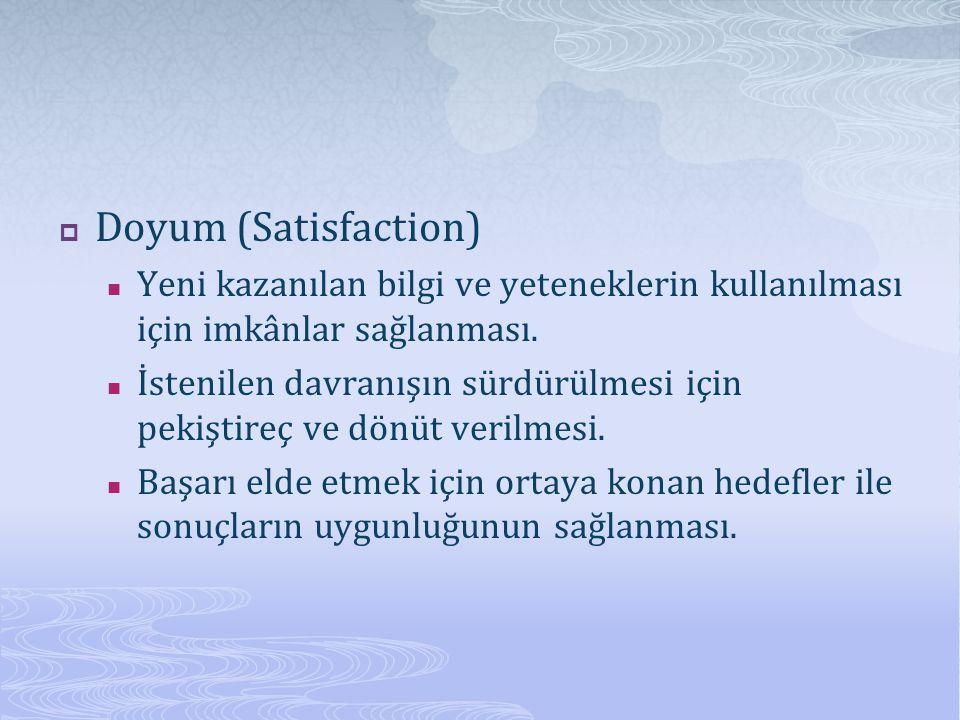  Doyum (Satisfaction) Yeni kazanılan bilgi ve yeteneklerin kullanılması için imkânlar sağlanması. İstenilen davranışın sürdürülmesi için pekiştireç v