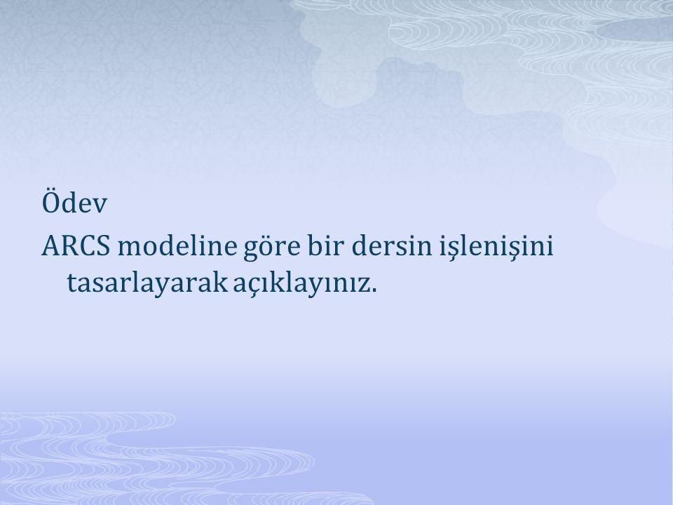 Ödev ARCS modeline göre bir dersin işlenişini tasarlayarak açıklayınız.