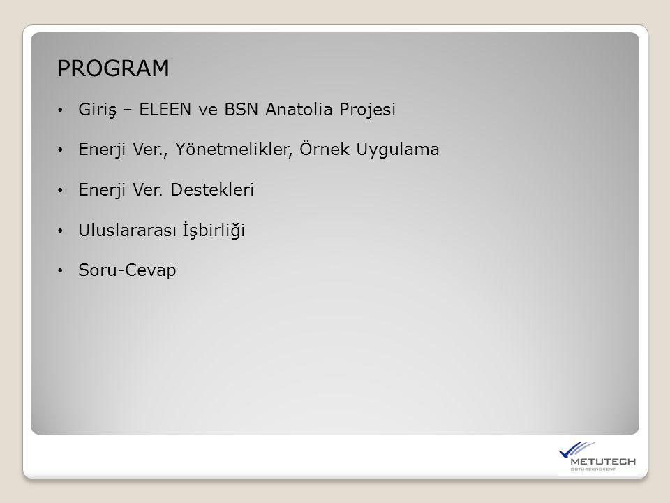 PROGRAM Giriş – ELEEN ve BSN Anatolia Projesi Enerji Ver., Yönetmelikler, Örnek Uygulama Enerji Ver. Destekleri Uluslararası İşbirliği Soru-Cevap
