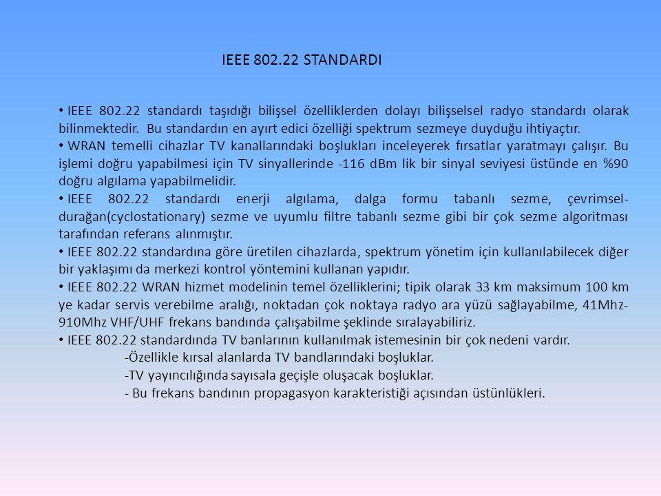 IEEE 802.22 STANDARDI IEEE 802.22 standardı taşıdığı bilişsel özelliklerden dolayı bilişselsel radyo standardı olarak bilinmektedir. Bu standardın en