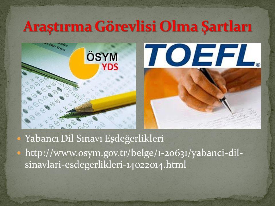 Yabancı Dil Sınavı Eşdeğerlikleri http://www.osym.gov.tr/belge/1-20631/yabanci-dil- sinavlari-esdegerlikleri-14022014.html
