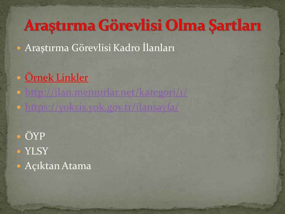 Araştırma Görevlisi Kadro İlanları Örnek Linkler http://ilan.memurlar.net/kategori/1/ https://yoksis.yok.gov.tr/ilansayfa/ ÖYP YLSY Açıktan Atama