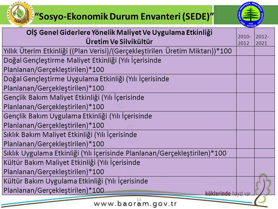 """13 """"Sosyo-Ekonomik Durum Envanteri (SEDE)"""" OİŞ Genel Giderlere Yönelik Maliyet Ve Uygulama Etkinliği Üretim Ve Silvikültür 2010- 2012 2012- 2021 Yıllı"""