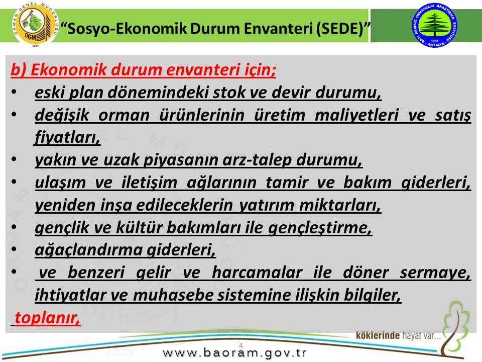4 b) Ekonomik durum envanteri için; eski plan dönemindeki stok ve devir durumu, değişik orman ürünlerinin üretim maliyetleri ve satış fiyatları, yakın