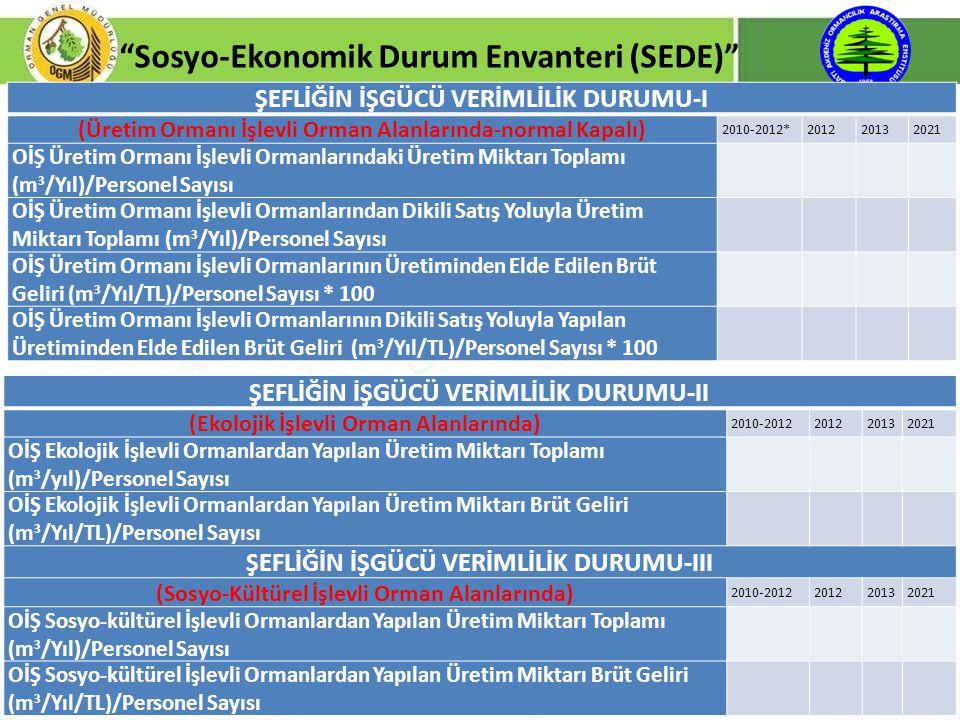 """8 """"Sosyo-Ekonomik Durum Envanteri (SEDE)"""" ŞEFLİĞİN İŞGÜCÜ VERİMLİLİK DURUMU-I (Üretim Ormanı İşlevli Orman Alanlarında-normal Kapalı) 2010-2012*201220"""