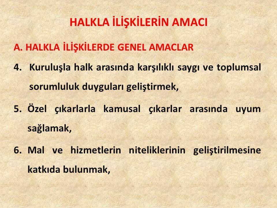 A. HALKLA İLİŞKİLERDE GENEL AMACLAR 4.Kuruluşla halk arasında karşılıklı saygı ve toplumsal sorumluluk duyguları geliştirmek, 5.Özel çıkarlarla kamusa