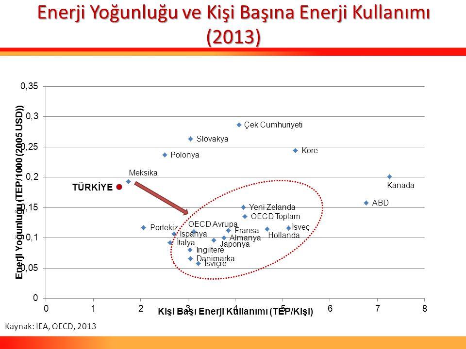EnerjiYoğunluğu ve Kişi Başına Enerji Kullanımı (2013) Enerji Yoğunluğu ve Kişi Başına Enerji Kullanımı (2013) Kaynak: IEA, OECD, 2013