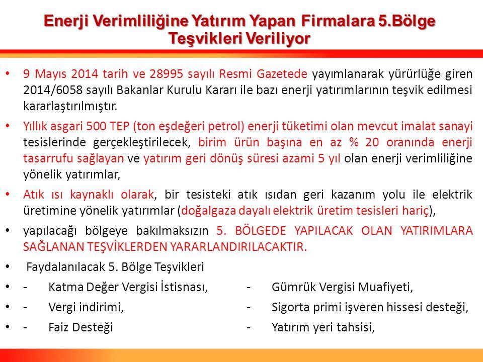 9 Mayıs 2014 tarih ve 28995 sayılı Resmi Gazetede yayımlanarak yürürlüğe giren 2014/6058 sayılı Bakanlar Kurulu Kararı ile bazı enerji yatırımlarının