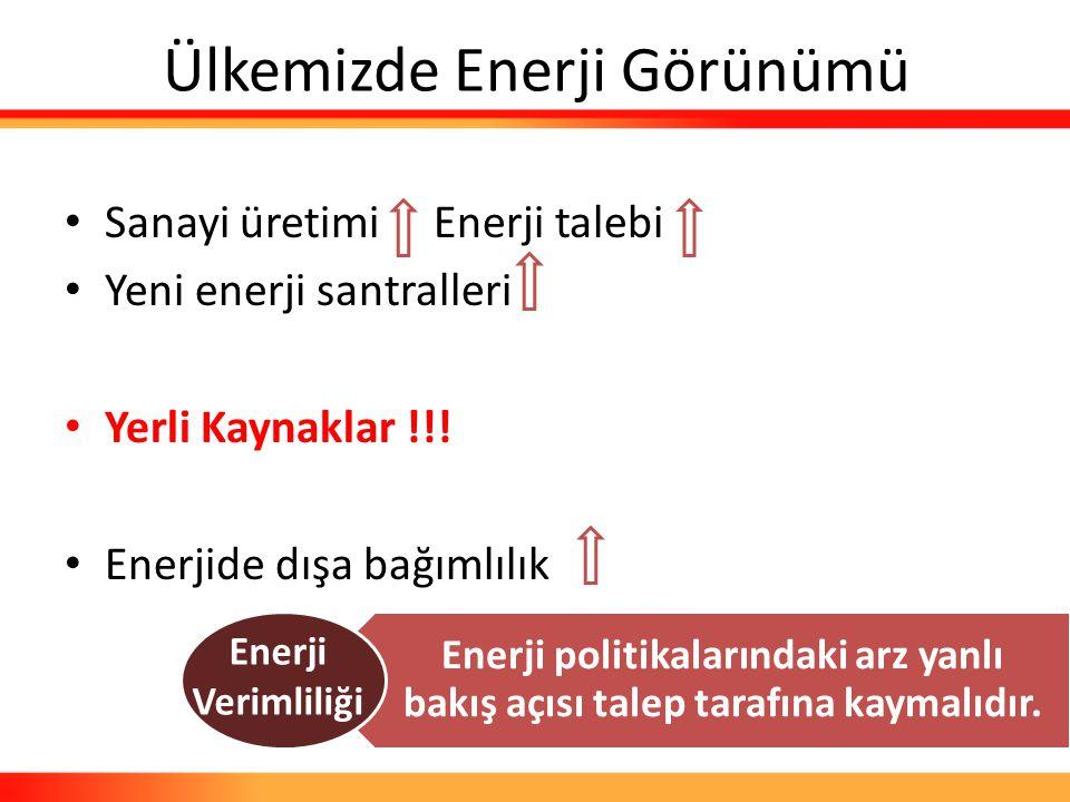 Ülkemizde Enerji Görünümü Sanayi üretimi Enerji talebi Yeni enerji santralleri Yerli Kaynaklar !!! Enerjide dışa bağımlılık Enerji politikalarındaki a