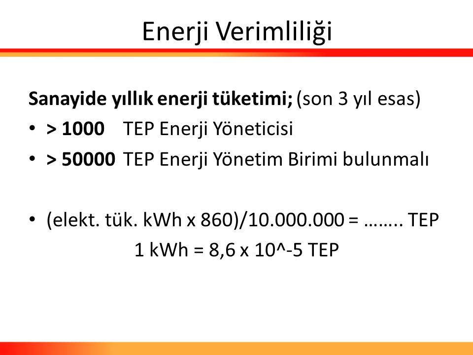 Enerji Verimliliği Sanayide yıllık enerji tüketimi; (son 3 yıl esas) > 1000TEP Enerji Yöneticisi > 50000TEP Enerji Yönetim Birimi bulunmalı (elekt. tü