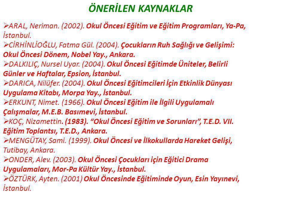 ÖNERİLEN KAYNAKLAR  ARAL, Neriman. (2002). Okul Öncesi Eğitim ve Eğitim Programları, Ya-Pa, İstanbul.  CİRHİNLİOĞLU, Fatma Gül. (2004). Çocukların R