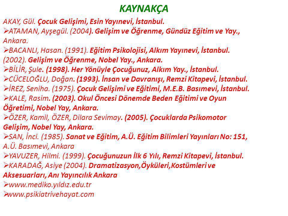 KAYNAKÇA AKAY, Gül. Çocuk Gelişimi, Esin Yayınevi, İstanbul.  ATAMAN, Ayşegül. (2004). Gelişim ve Öğrenme, Gündüz Eğitim ve Yay., Ankara.  BACANLI,