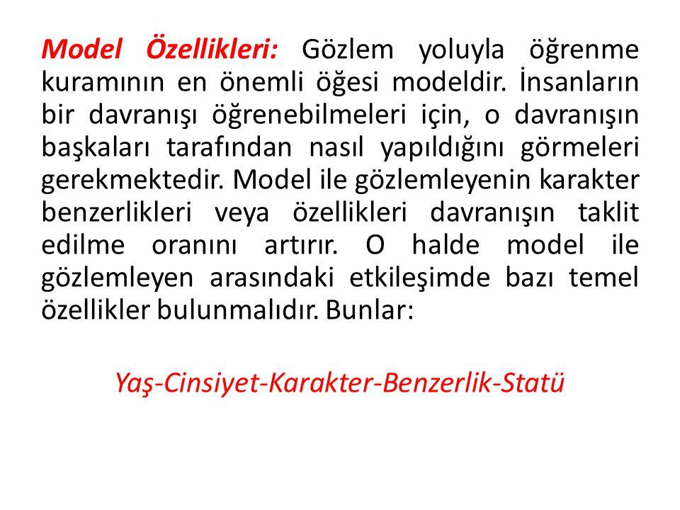 Model Özellikleri: Gözlem yoluyla öğrenme kuramının en önemli öğesi modeldir. İnsanların bir davranışı öğrenebilmeleri için, o davranışın başkaları ta