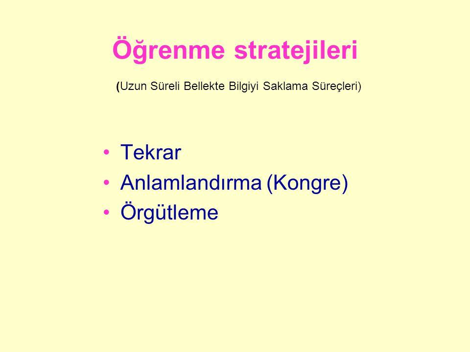 Öğrenme stratejileri (Uzun Süreli Bellekte Bilgiyi Saklama Süreçleri) Tekrar Anlamlandırma (Kongre) Örgütleme