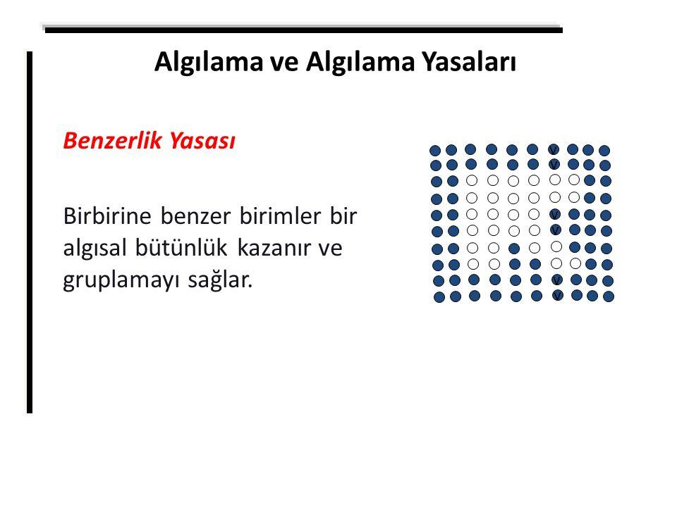 Algılama ve Algılama Yasaları Benzerlik Yasası Birbirine benzer birimler bir algısal bütünlük kazanır ve gruplamayı sağlar. v v v v v v