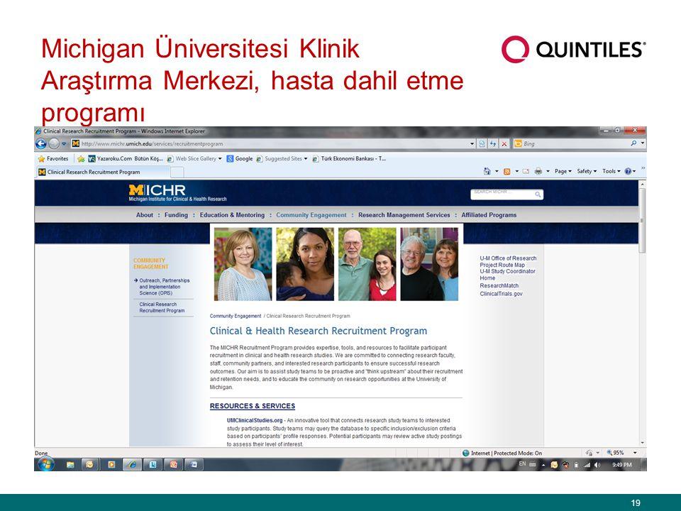 19 Michigan Üniversitesi Klinik Araştırma Merkezi, hasta dahil etme programı