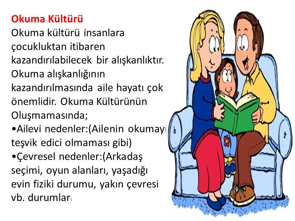Okuma Kültürü Okuma kültürü insanlara çocukluktan itibaren kazandırılabilecek bir alışkanlıktır.