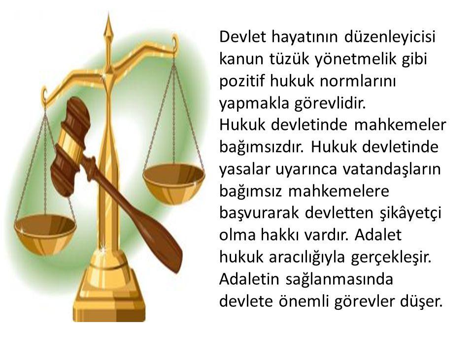 Devlet hayatının düzenleyicisi kanun tüzük yönetmelik gibi pozitif hukuk normlarını yapmakla görevlidir.