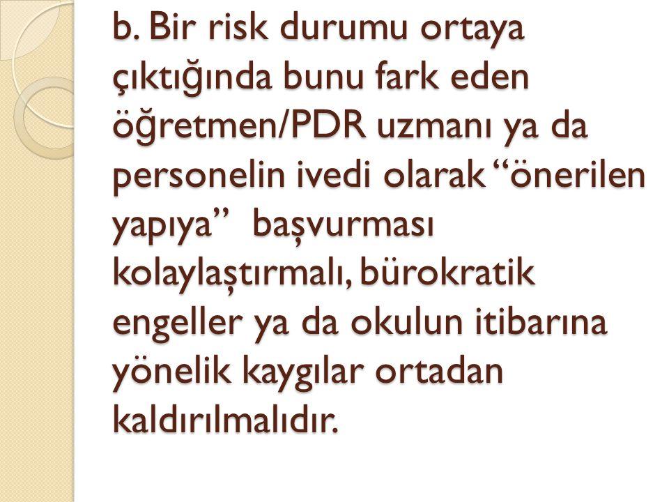 """b. Bir risk durumu ortaya çıktı ğ ında bunu fark eden ö ğ retmen/PDR uzmanı ya da personelin ivedi olarak """"önerilen yapıya"""" başvurması kolaylaştırmalı"""
