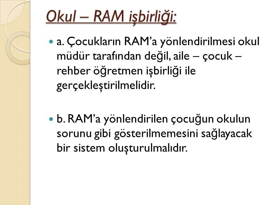 Okul – RAM işbirli ğ i: a.