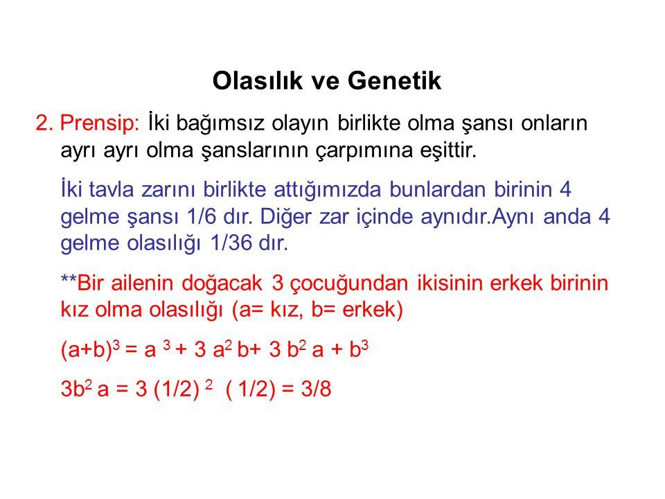 Olasılık ve Genetik 2. Prensip: İki bağımsız olayın birlikte olma şansı onların ayrı ayrı olma şanslarının çarpımına eşittir. İki tavla zarını birlikt