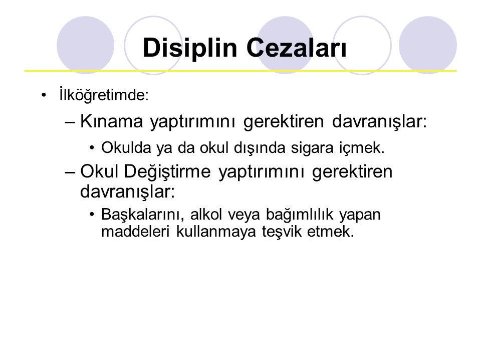 Disiplin Cezaları İlköğretimde: –Kınama yaptırımını gerektiren davranışlar: Okulda ya da okul dışında sigara içmek. –Okul Değiştirme yaptırımını gerek