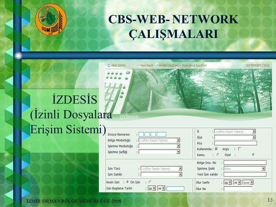 13 İZMİR ORMAN BÖLGE MÜDÜRLÜĞÜ-2008 İZDESİS (İzinli Dosyalara Erişim Sistemi) CBS-WEB- NETWORK ÇALIŞMALARI