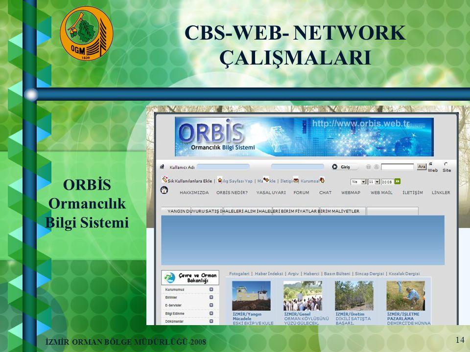 14 İZMİR ORMAN BÖLGE MÜDÜRLÜĞÜ-2008 ORBİS Ormancılık Bilgi Sistemi CBS-WEB- NETWORK ÇALIŞMALARI
