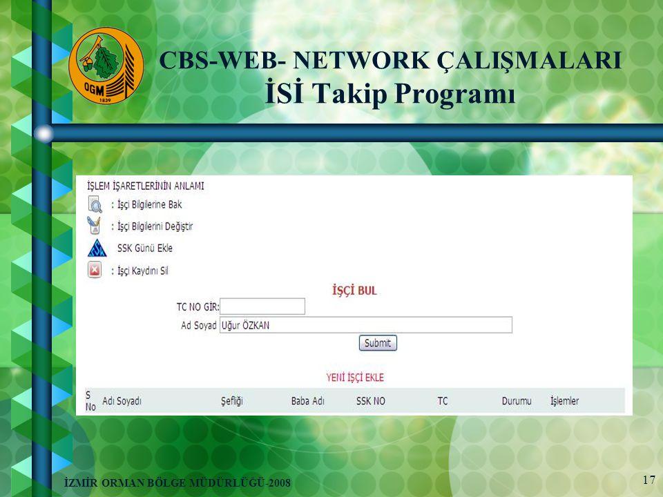 17 İZMİR ORMAN BÖLGE MÜDÜRLÜĞÜ-2008 CBS-WEB- NETWORK ÇALIŞMALARI İSİ Takip Programı