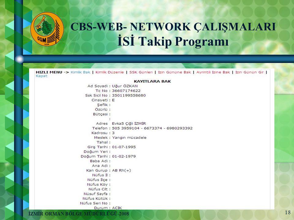 18 İZMİR ORMAN BÖLGE MÜDÜRLÜĞÜ-2008 CBS-WEB- NETWORK ÇALIŞMALARI İSİ Takip Programı