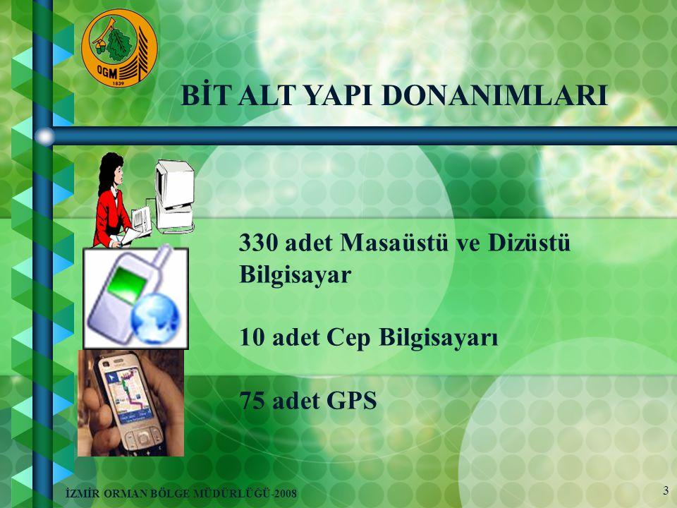 3 İZMİR ORMAN BÖLGE MÜDÜRLÜĞÜ-2008 BİT ALT YAPI DONANIMLARI 330 adet Masaüstü ve Dizüstü Bilgisayar 10 adet Cep Bilgisayarı 75 adet GPS
