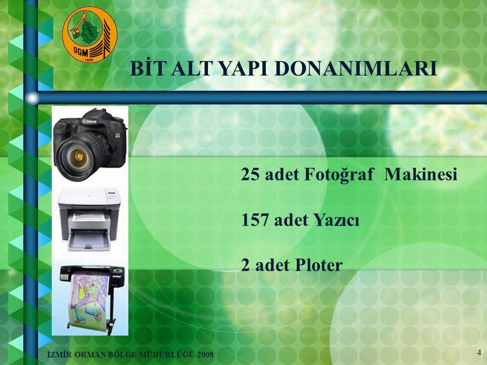 4 İZMİR ORMAN BÖLGE MÜDÜRLÜĞÜ-2008 25 adet Fotoğraf Makinesi 157 adet Yazıcı 2 adet Ploter BİT ALT YAPI DONANIMLARI