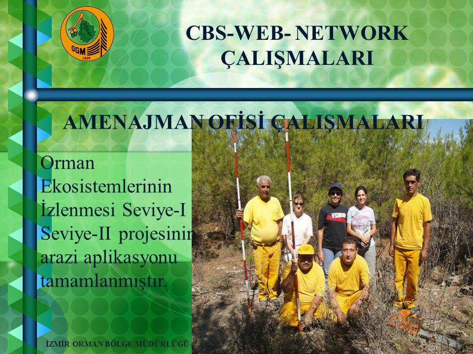 7 İZMİR ORMAN BÖLGE MÜDÜRLÜĞÜ-2008 CBS-WEB- NETWORK ÇALIŞMALARI AMENAJMAN OFİSİ ÇALIŞMALARI Orman Ekosistemlerinin İzlenmesi Seviye-I Seviye-II projesinin arazi aplikasyonu tamamlanmıştır.