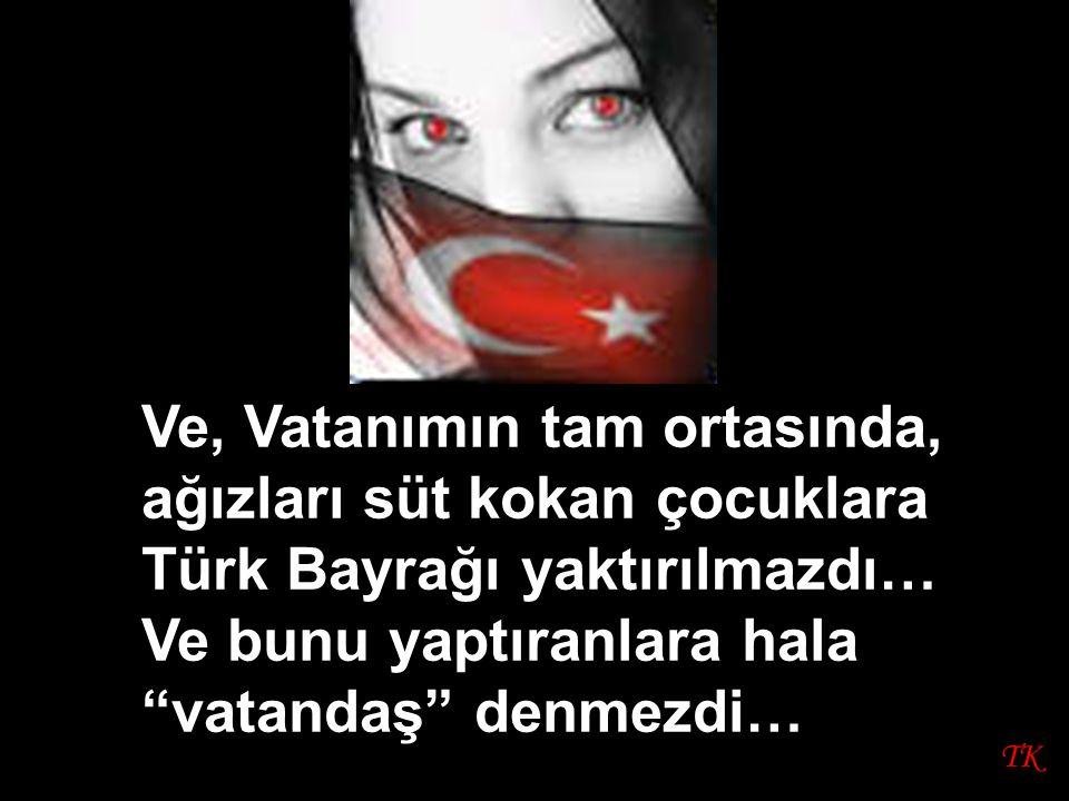 """TK Ve, Vatanımın tam ortasında, ağızları süt kokan çocuklara Türk Bayrağı yaktırılmazdı… Ve bunu yaptıranlara hala """"vatandaş"""" denmezdi…"""