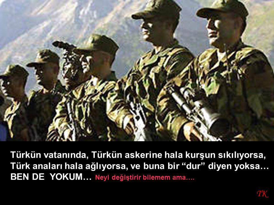 TK Türkün vatanında, Türkün askerine hala kurşun sıkılıyorsa, Türk anaları hala ağlıyorsa, ve buna bir dur diyen yoksa… BEN DE YOKUM… Neyi değiştirir bilemem ama….