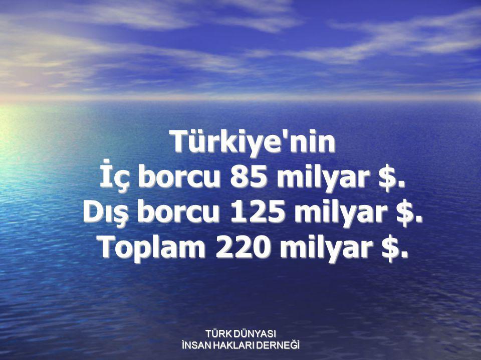 Türkiye'nin İç borcu 85 milyar $. Dış borcu 125 milyar $. Toplam 220 milyar $.