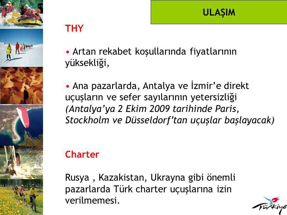 THY Artan rekabet koşullarında fiyatlarının yüksekliği, Ana pazarlarda, Antalya ve İzmir'e direkt uçuşların ve sefer sayılarının yetersizliği (Antalya