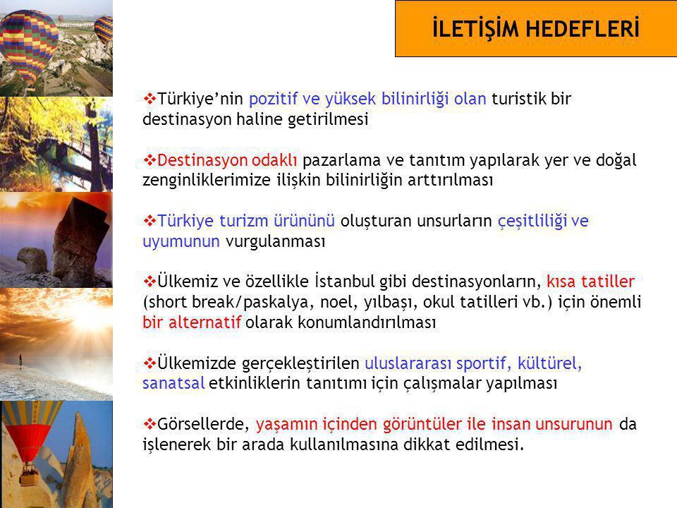 İLETİŞİM HEDEFLERİ  Türkiye'nin pozitif ve yüksek bilinirliği olan turistik bir destinasyon haline getirilmesi  Destinasyon odaklı pazarlama ve tanı