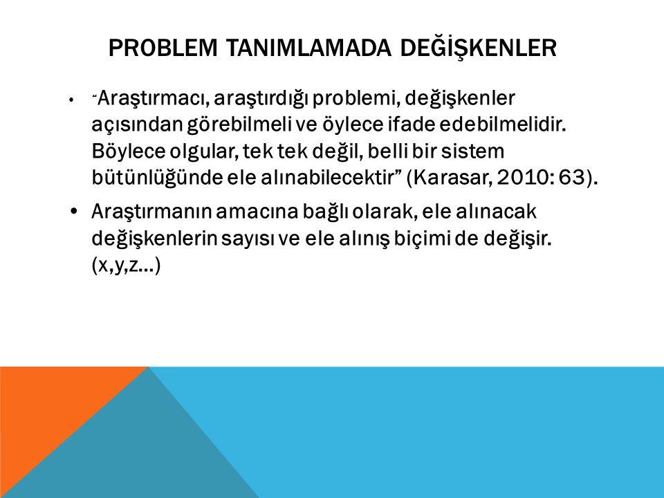 """PROBLEM TANIMLAMADA DEĞİŞKENLER """" Araştırmacı, araştırdığı problemi, değişkenler açısından görebilmeli ve öylece ifade edebilmelidir. Böylece olgular,"""